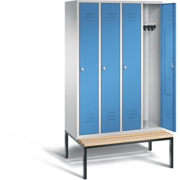 Garderobenspind CLASSIC mit untergebauter Sitzbank Lichtblau RAL 5012   300   4   mit untergebauter Sitzbank, Holzleisten
