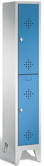 Doppelstöckiger Garderobenspind CLASSIC mit Füßen Lichtblau RAL 5012 | 300 | 2