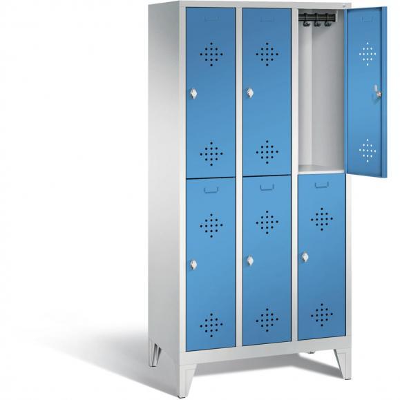 Doppelstöckiger Garderobenspind CLASSIC mit Füßen Lichtblau RAL 5012 | 300 | 6