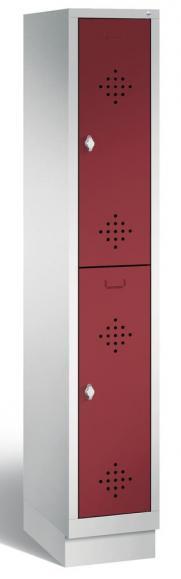 Doppelstöckiger Garderobenspind CLASSIC mit Sockel Rubinrot RAL 3003 | 300 | 2