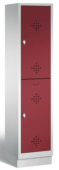 Doppelstöckiger Garderobenspind CLASSIC mit Sockel Rubinrot RAL 3003 | mit Sockel | 400 | 2