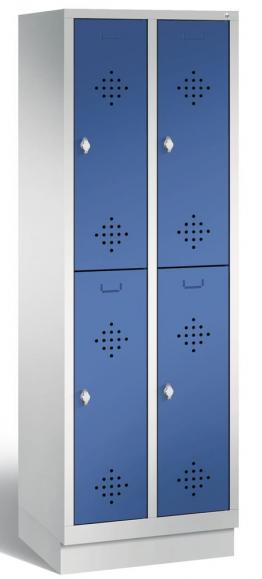 Doppelstöckiger Garderobenspind CLASSIC mit Sockel Enzianblau RAL 5010   300   4   mit Sockel
