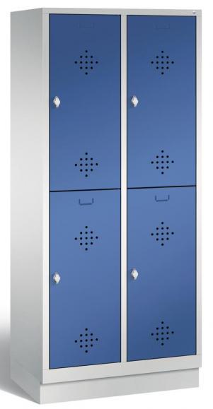 Doppelstöckiger Garderobenspind CLASSIC mit Sockel Enzianblau RAL 5010 | mit Sockel | 400 | 4
