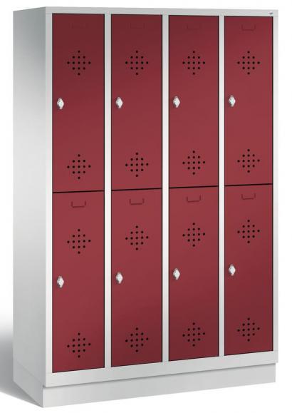 Doppelstöckiger Garderobenspind CLASSIC mit Sockel Rubinrot RAL 3003 | mit Sockel | 300 | 8
