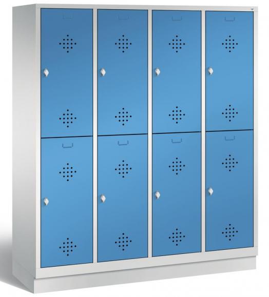 Doppelstöckiger Garderobenspind CLASSIC mit Sockel Lichtblau RAL 5012 | 400 | 8