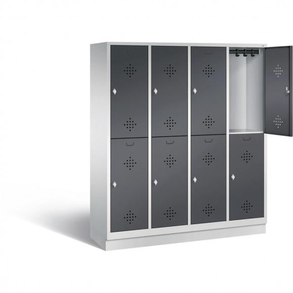 Doppelstöckiger Garderobenspind CLASSIC mit Sockel Anthrazit RAL 7021 | 400 | 8 | mit Sockel