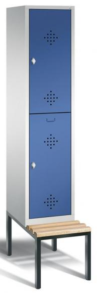 Doppelstöckiger Spind CLASSIC mit Sitzbank Enzianblau RAL 5010 | 400 | 2