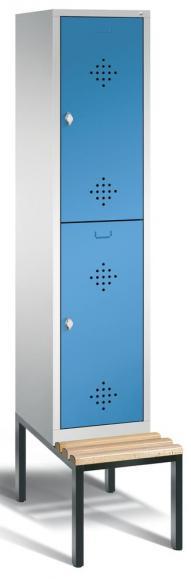 Doppelstöckiger Spind CLASSIC mit Sitzbank Lichtblau RAL 5012 | 400 | 2
