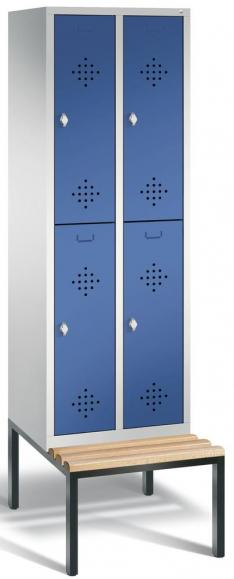 Doppelstöckiger Spind CLASSIC mit Sitzbank Enzianblau RAL 5010 | 300 | 4