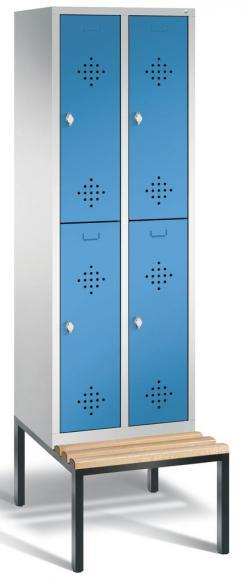 Doppelstöckiger Spind CLASSIC mit Sitzbank Lichtblau RAL 5012 | 300 | 4