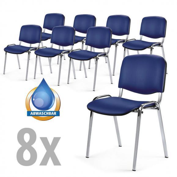 Besucherstühle ISO 8 Stühle im SET Blau | Verchromt