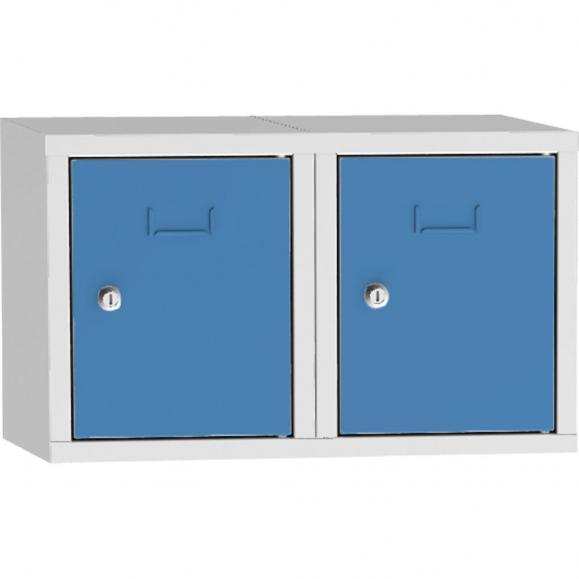 Schließfach-Aufsatzschrank, 2 Fächer Lichtblau RAL 5012   600