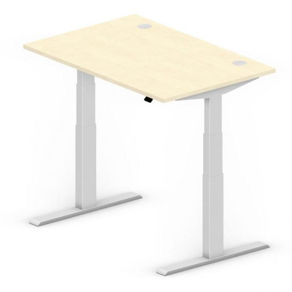 Sitz-/Stehtisch Comfort PROFI MODUL Ahorndekor | 1200 | Alusilber RAL 9006 | Rechteck