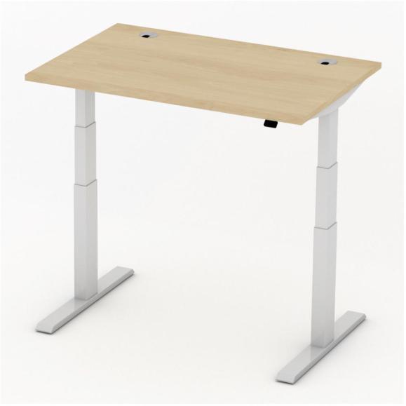 Sitz-/Stehtisch Comfort PROFI MODUL Buchedekor | 1200 | Alusilber RAL 9006 | Rechteck