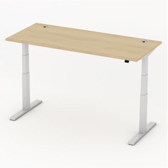 Sitz-/Stehtisch Comfort PROFI MODUL Buchedekor | 1800 | Alusilber RAL 9006