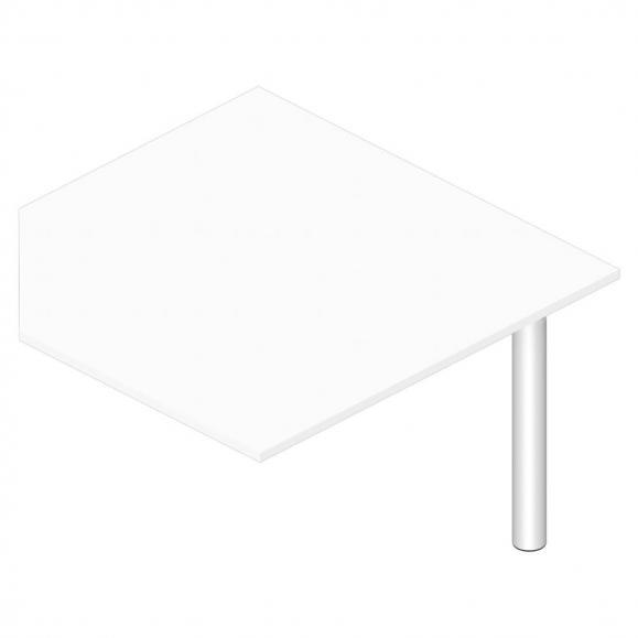 Verkettungsplatte eckig 1200 PROFI MODUL Weiß | Stützfuß Alusilber