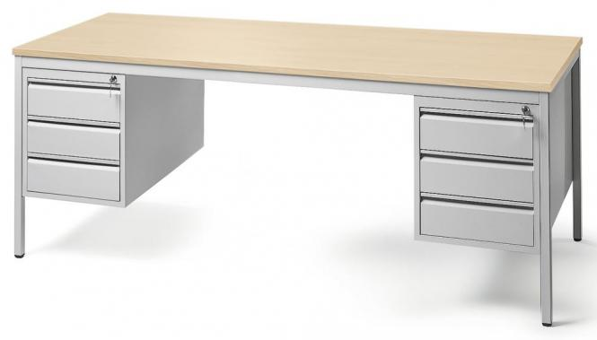 Schreibtischkombination BASE LINE Buchedekor | 1600 | 2 Hängecontainer: Beide mit 3 Schüben