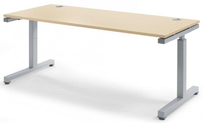 Schreibtisch Comfort 2.0 MULTI MODUL Ahorndekor | 1800 | Alusilber RAL 9006