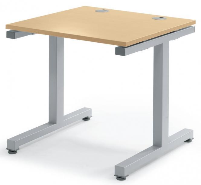 Schreibtisch Comfort 2.0 MULTI MODUL Buchedekor | 800 | Alusilber RAL 9006