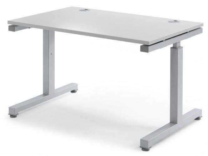 Schreibtisch Comfort 2.0 MULTI MODUL Lichtgrau   800   Alusilber RAL 9006