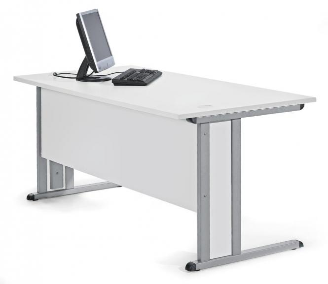 Schreibtisch Basic MULTI MODUL Lichtgrau | 800 | Alusilber RAL 9006