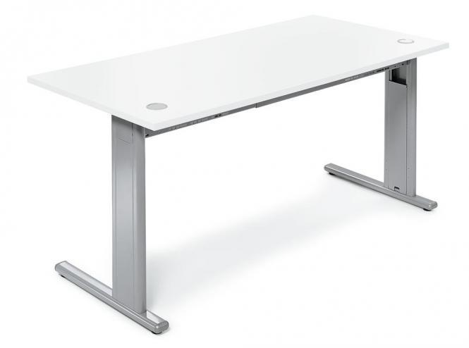 Schreibtisch Basic M MULTI MODUL Weiß | 1800 | Alusilber RAL 9006