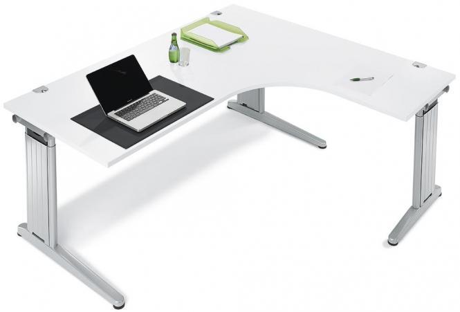 XXL-Jumbo Schreibtische mit C-Fuß PROFI MODUL Weiß   1800   Jumbo Freiform rechtsseitig