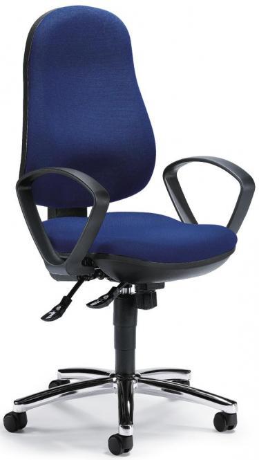 Bürodrehstuhl COMFORT I inkl. Armlehnen Blau | Verchromt