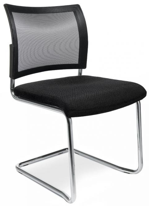 Besucherschwinger LAS VEGAS mit Netzrücken Schwarz | Stoffsitz mit Netzrücken