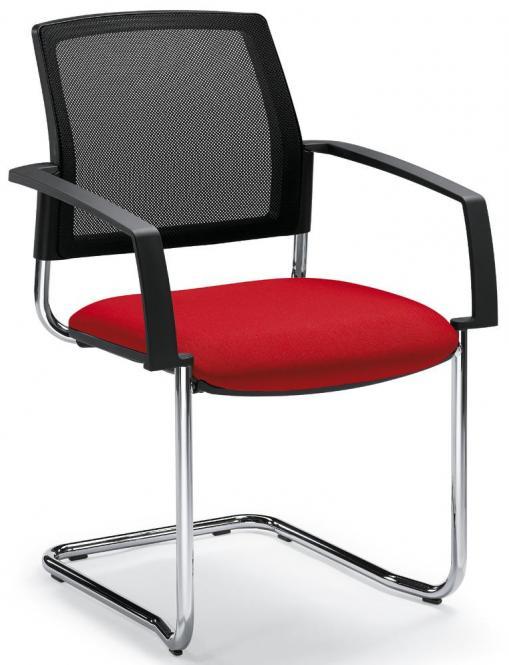 Besucherstuhl VALERA S Rot | inklusive Armlehnen | Stoffsitz mit Netzrücken
