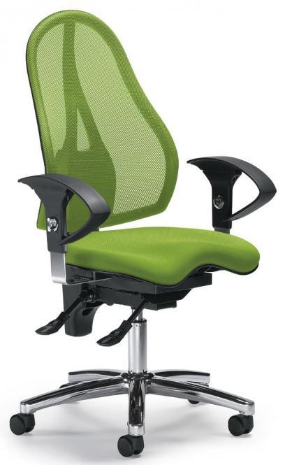 Bürodrehstuhl SITNESS 40 NET mit Armlehnen Grün/Grün