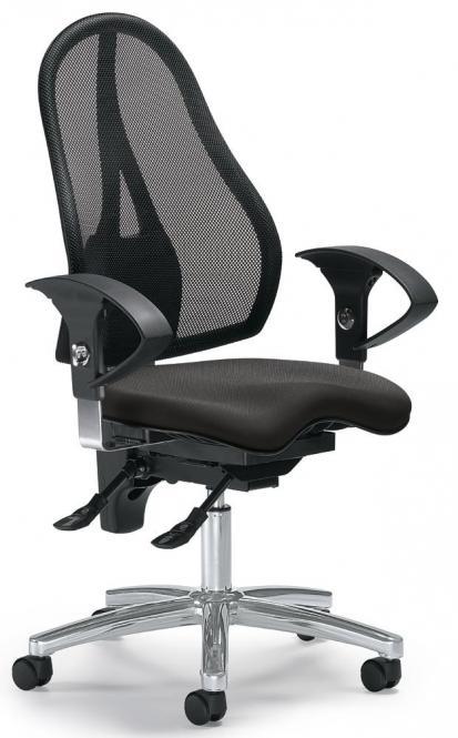 Bürodrehstuhl SITNESS 40 NET mit Armlehnen Schwarz/Anthrazit