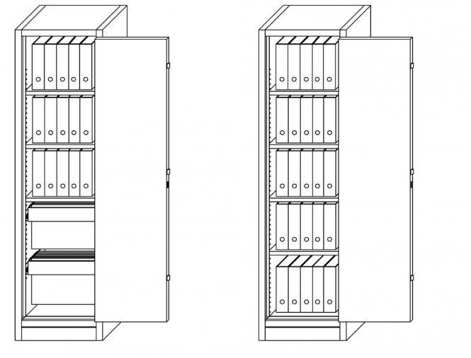 Aktenlagerschrank F90 1-flüglig 580 | 3x Fachböden, 2x Hängeregister