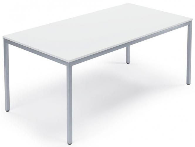 Arbeitstisch WS PROFI Weiß | 1400 | 800 | Alusilber RAL 9006 | Rechteck