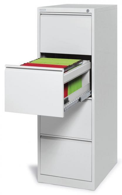 Hängeregistraturstahlschrank BASE LINE - 4 Schübe Lichtgrau RAL 7035 | 1320 | Kapazität für bis zu 320 Mappen