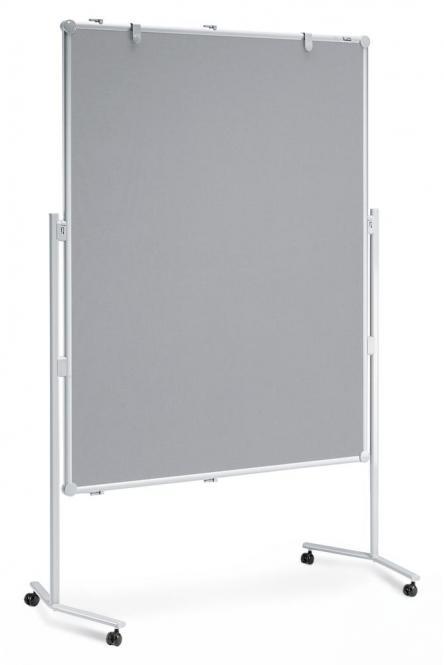 Moderationstafel PROFESSIONELL inkl. Zubehör-Set einteilig | Textil, grau - beidseitig