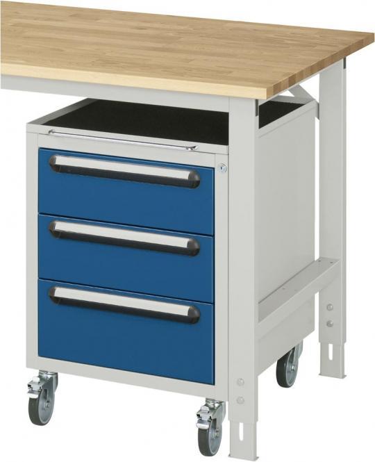 Roll-Unterbau-Container, für SYSTEM VK3060 Enzianblau RAL 5010   635   Ja   3