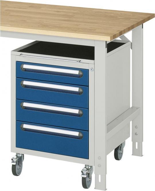 Roll-Unterbau-Container, für SYSTEM VK3060 Enzianblau RAL 5010   635   Ja   4