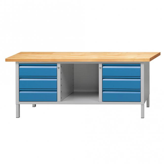 werkbank serie allround enzianblau ral 5010 buche massiv. Black Bedroom Furniture Sets. Home Design Ideas