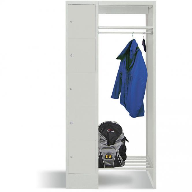 Garderobe mit Schließfachschränken BASIC Lichtgrau RAL 7035 | Garderobenbreite 540 mm | 300 | 1 | 5