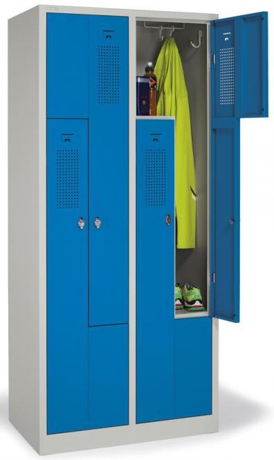 Z-Garderoben-Stahlspind mit Lüftungslöchern Himmelblau RAL 5015 | 200/400 | 4 | Drehriegelverschluss