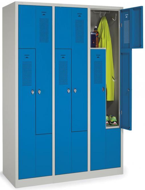 Z-Garderoben-Stahlspind mit Lüftungslöchern Himmelblau RAL 5015 | 200/400 | 6 | Zylinderschloss