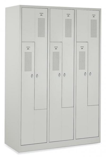 Z-Garderoben-Stahlspind mit Lüftungslöchern Lichtgrau RAL 7035 | 150/300 | 6 | Drehriegelverschluss