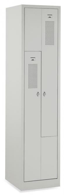 Z-Garderoben-Stahlspind mit Lüftungslöchern Lichtgrau RAL 7035 | 200/400 | 2 | Drehriegelverschluss