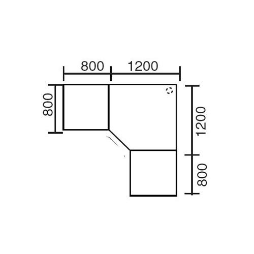 Winkelkombination Basic MULTI MODUL Ahorndekor | 2000 | 2000 | eckig | Alusilber RAL 9006
