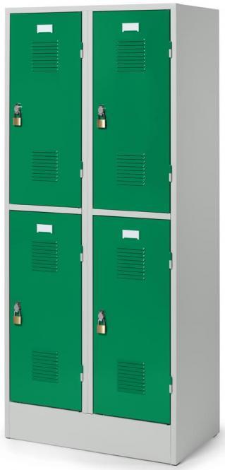 Doppelstöckiger Garderobenspind Delta PROTECT Verkehrsgrün RAL 6024 | 300 | 4 | Drehriegelverschluss