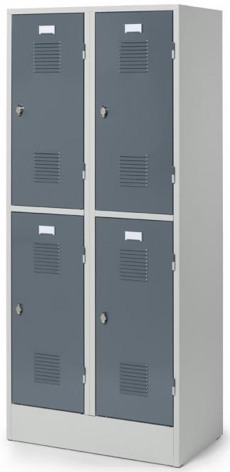 Doppelstöckiger Garderobenspind Delta PROTECT Blaugrau RAL 7031 | 400 | 4 | Drehriegelverschluss