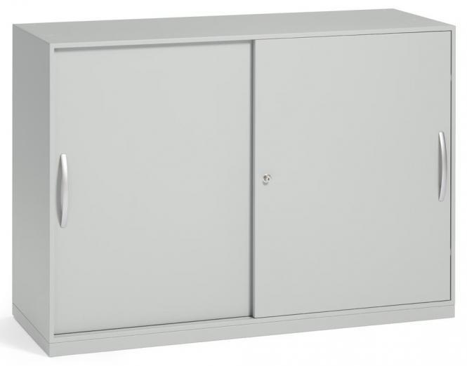 Schiebetürenschrank DELTAFLEXX Lichtgrau   Türen Stahl   837 mm (2 OH)