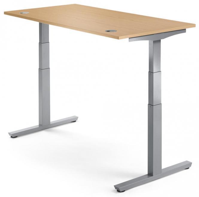Sitz-/ Stehschreibtisch PROFI MODUL Nussdekor | 1200 | Alusilber RAL 9006