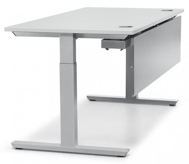 Schreibtisch T-Fuß PROFI MODUL Lichtgrau | 1400 | Alusilber RAL 9006